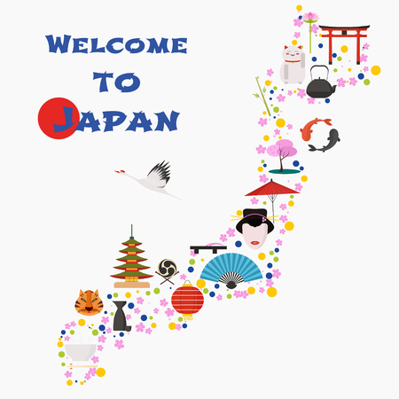 Map of Japan vector illustration, design. Icons with Japanese gate, animals, people. Explore Japan concept image