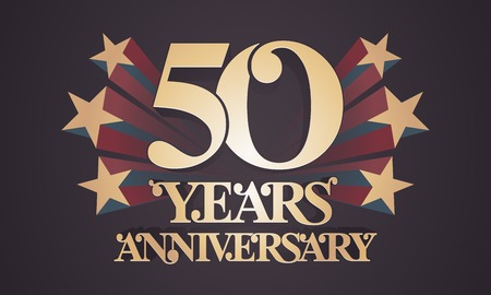 50 years anniversary vector icon, logo. Graphic design element with golden numbers for 50th anniversary celebration