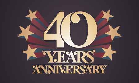 40 years anniversary vector icon, logo. Graphic design element with golden numbers for 40th anniversary celebration  イラスト・ベクター素材
