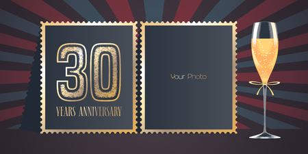30 years anniversary vector icon, logo. Template design, greeting card with collage of photo frames, number for 30th anniversary and champagne for background or banner Ilustração