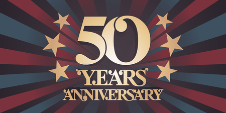 50 years anniversary vector icon, logo, banner. Design element with abstract vintage background for 50th anniversary card  イラスト・ベクター素材