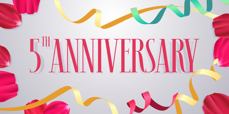 5 years anniversary vector icon, logo. Graphic design element with numbers, rose petals for 5th anniversary celebration