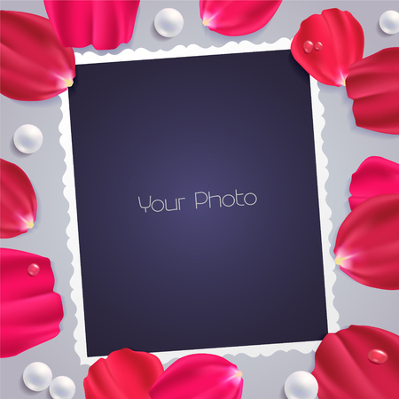 Collage of photo frame or scrapbook vector illustration. Design element with rose petals and templates for photo insertion Illustration