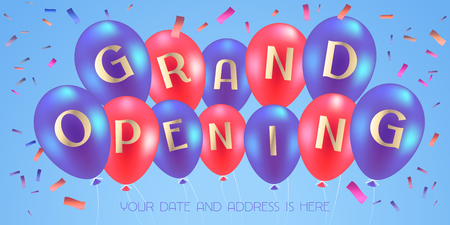 Grand opening vector illustration, background for new store with air balloons. Template banner, flyer, design element for opening event.