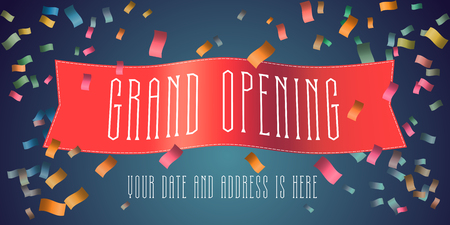 Grand opening banner with festive firework and red ribbon template design.