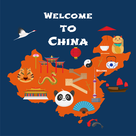 Map of China vector illustration, design. Icons with Chinese landmarks, gate, temple. Explore China concept image 向量圖像