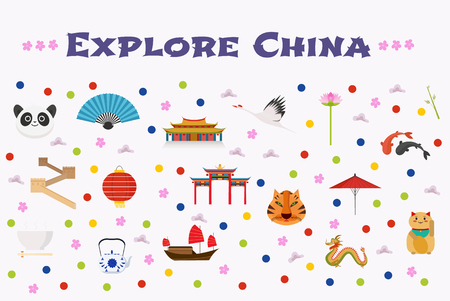 Travel to China vector icons set, background. Chinese landmarks, temple, dragon, great wall. Vettoriali