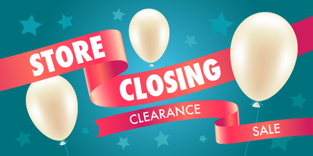 Store closing sale vector illustration, background with air balloons. Template banner, poster for store shut down clearance sale