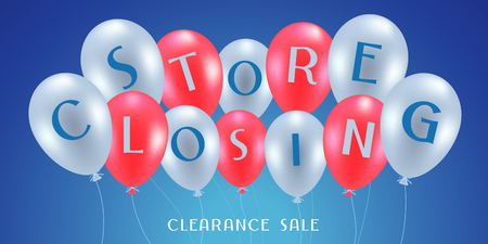 Store closing vector illustration, background. Banner, flyer for clearance sale or special price offer in the shop
