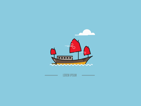 Chinese junk boat in Hong Kong vector icon. Traditional junk boat in Halong bay in Vietnam in modern flat design