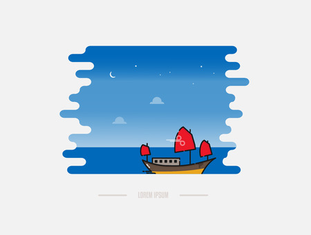 Chinese junk boat cruise in Hong Kong vector illustration. Traditional junk boat in Halong bay in Vietnam