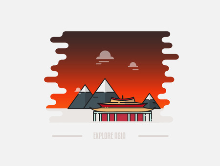 Pagoda and mountain on the background vector illustration. Sunset in Asia, China, Tibet. Travel to Asia concept