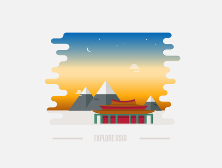 Abstract Chinese landscape with pagoda and mountain on the background vector illustration. Asian religious landmark. Temple, pagoda in China with skyline on sunrise