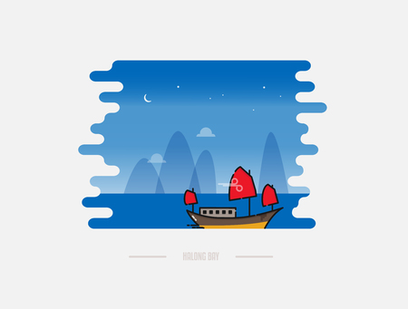 Vietnamese junk boat cruise Illustration