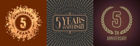 5 years anniversary icon design. Illustration