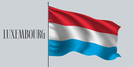 Luxembourg waving flag on flagpole vector illustration. Three stripes element of Luxembourg wavy realistic flag as a symbol of country Stock Illustratie