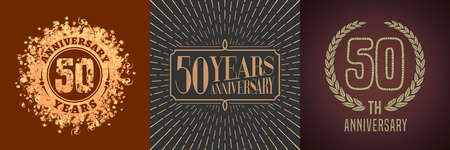 50 years anniversary vector icon, logo set. Graphic gold color design elements for 50th anniversary decoration