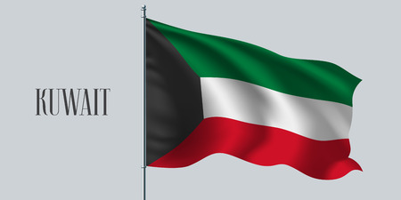 Kuwait waving flag on flagpole vector illustration. Three stripes element of Kuwaiti wavy realistic flag as a symbol of country. Illustration