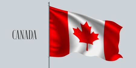 Canada waving flag on flagpole.