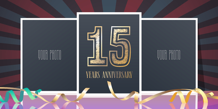 15 years anniversary vector icon, logo. Template design element, greeting card with collage of photo frames and number for 15th anniversary