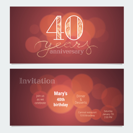 40 years anniversary invitation to celebration vector illustration. Graphic design element with bokeh effect for 40th birthday card, party invite