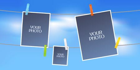 Collage of photo frames or scrapbook vector illustration. Design element with sky as background and three blank frames hanging on the rope for photo insertion