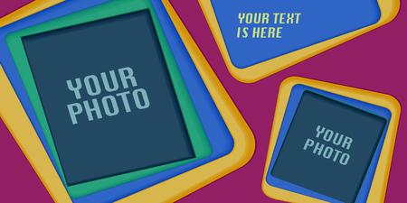 Collage van fotolijsten of plakboek vectorillustratie. Ontwerpelement met papier uitgesneden framesjablonen voor het invoegen van foto's Stock Illustratie