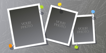 Collage of photo frames or scrapbook vector illustration. Design element with set of templates blank for photo insertion