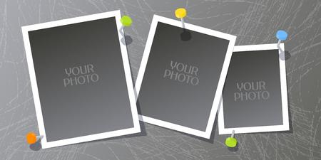 Colagem de quadros da foto ou de ilustração do vetor do álbum de recortes. Elemento de design com conjunto de modelos em branco para inserção de foto