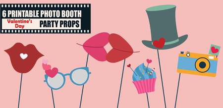 Happy Valentines day photo booth props icon set vector illustration. Perfect for photobooth party Illustration