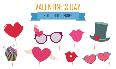 Valentine's day photo booth props icon set vector illustration Illustration
