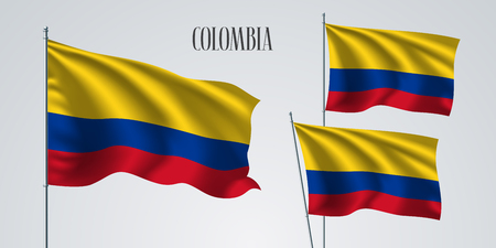 Colombia waving flag set of vector illustration. Red blue yellow colors of Colombia wavy realistic flag as a patriotic symbol.