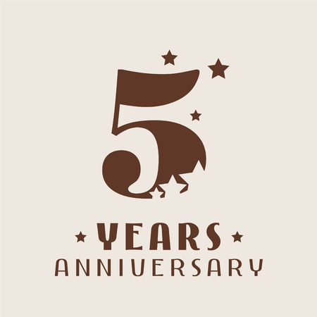 5 years anniversary vector icon, logo. Graphic design element with number and stars decoration for 5th anniversary Illustration