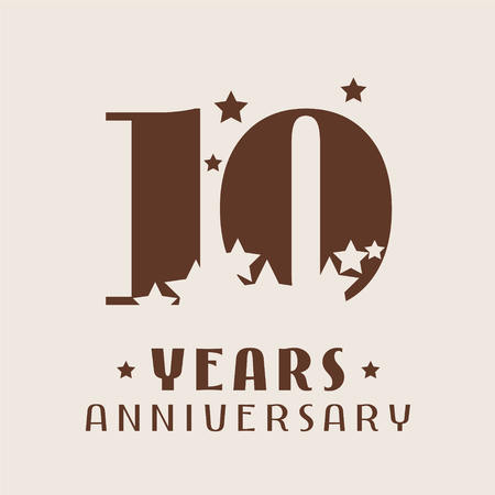 10 years anniversary vector icon, logo. Graphic design element with number and stars decoration for 10th anniversary. Illustration
