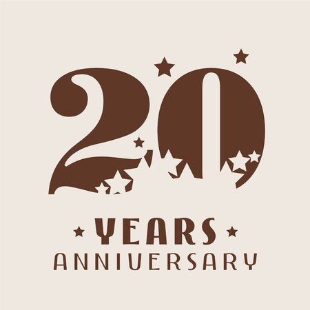 20 years anniversary vector icon, logo. Graphic design element with number and stars decoration for 20th anniversary 일러스트