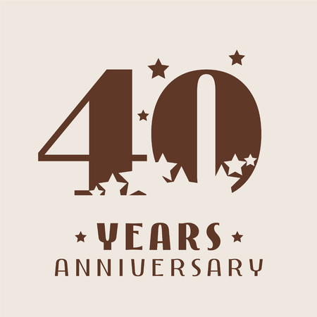 40 years anniversary vector icon, logo. Graphic design element with number and stars decoration for 40th anniversary 向量圖像