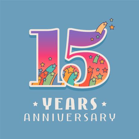 ●15周年記念ベクトルアイコン、ロゴ。15周年記念グリーティングカードの明るい色の番号を持つテンプレートデザイン要素