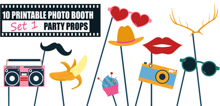 Colorful photo booth props icon set vector illustration.