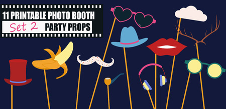 Photo booth props collection for birthday or wedding party vector illustration. Funny icons for banana, glasses, mustache and other elements for making hipster style photo booth collage.