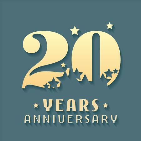 20 years anniversary vector icon, symbol, logo. Graphic design element for 20th anniversary birthday card Illustration
