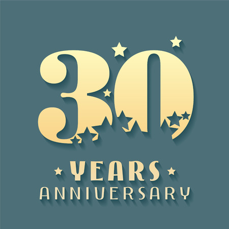 30 Years Anniversary vector icon, symbol, icon. Graphic design element for 30th Anniversary, Birthday card.