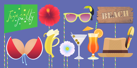 Photo booth printable props collection for tropical party vector illustration. Funny icons for banana, glasses, bikini and other elements for making exotic style photo booth collage.  イラスト・ベクター素材