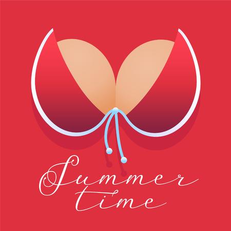 Red bikini bra in summer time concept vector illustration