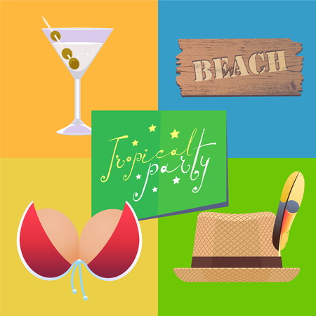 Poster or flyer for tropical beach party vector illustration. Set of icons, clip art for tropics design theme with martini cocktail, hat.