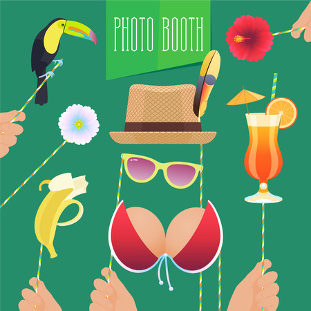 Photo booth printable props collection for tropical party vector illustration. Colorful icons for banana, cocktails and flower for making exotic style funny photo booth collage