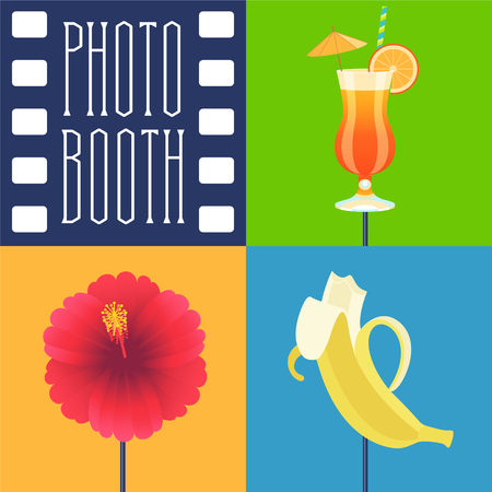 Photo booth printable props icon set vector illustration. Collection of icons with tropics style party design elements such as cocktails, flower, banan bite. Perfect for photobooth shooting