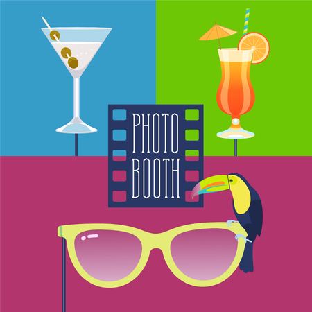 Colorful photo booth props icon set vector illustration. Collection of icons with tropics style party design elements such as cocktails, sunglasses, toucan bird.