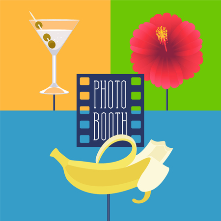 Photo booth printable props collection for tropical party vector illustration. Funny icons for banana, cocktails and flower for making exotic style photo booth collage. Illustration