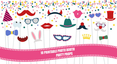 Big photo booth props set for birthday or party vector illustration. Printable icons for mustache, hats, sunglasses for making photo booth collage