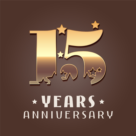 15 years anniversary vector icon, logo. Graphic design element with golden metal effect numbers for 15th anniversary decoration